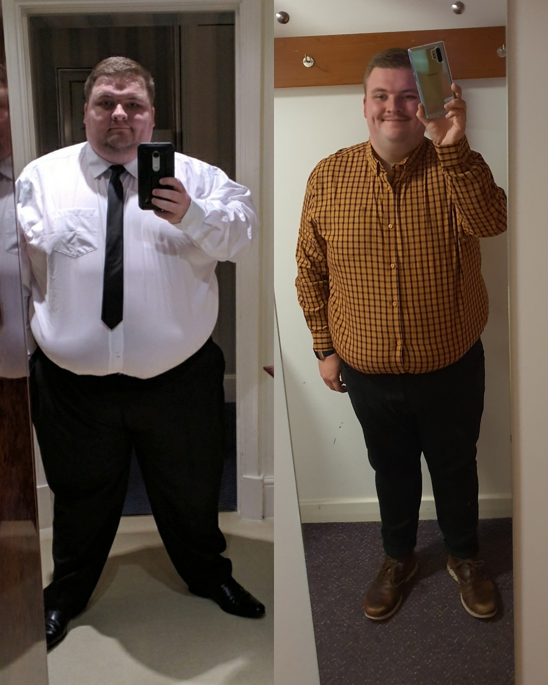 5 foot 8 Male Before and After 114 lbs Weight Loss 392 lbs to 278 lbs