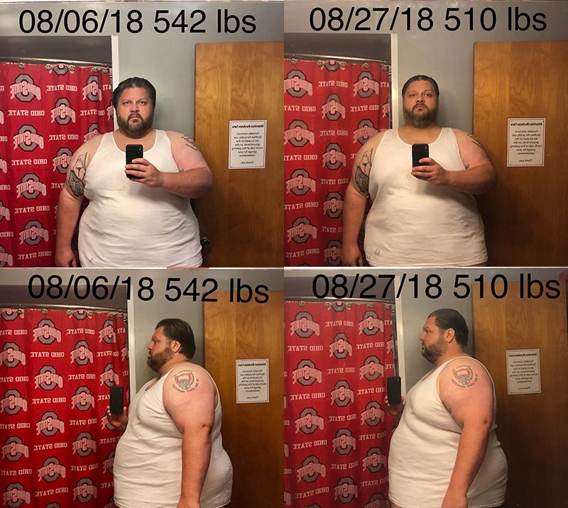 Before and After 32 lbs Fat Loss 6 foot 1 Male 542 lbs to 510 lbs