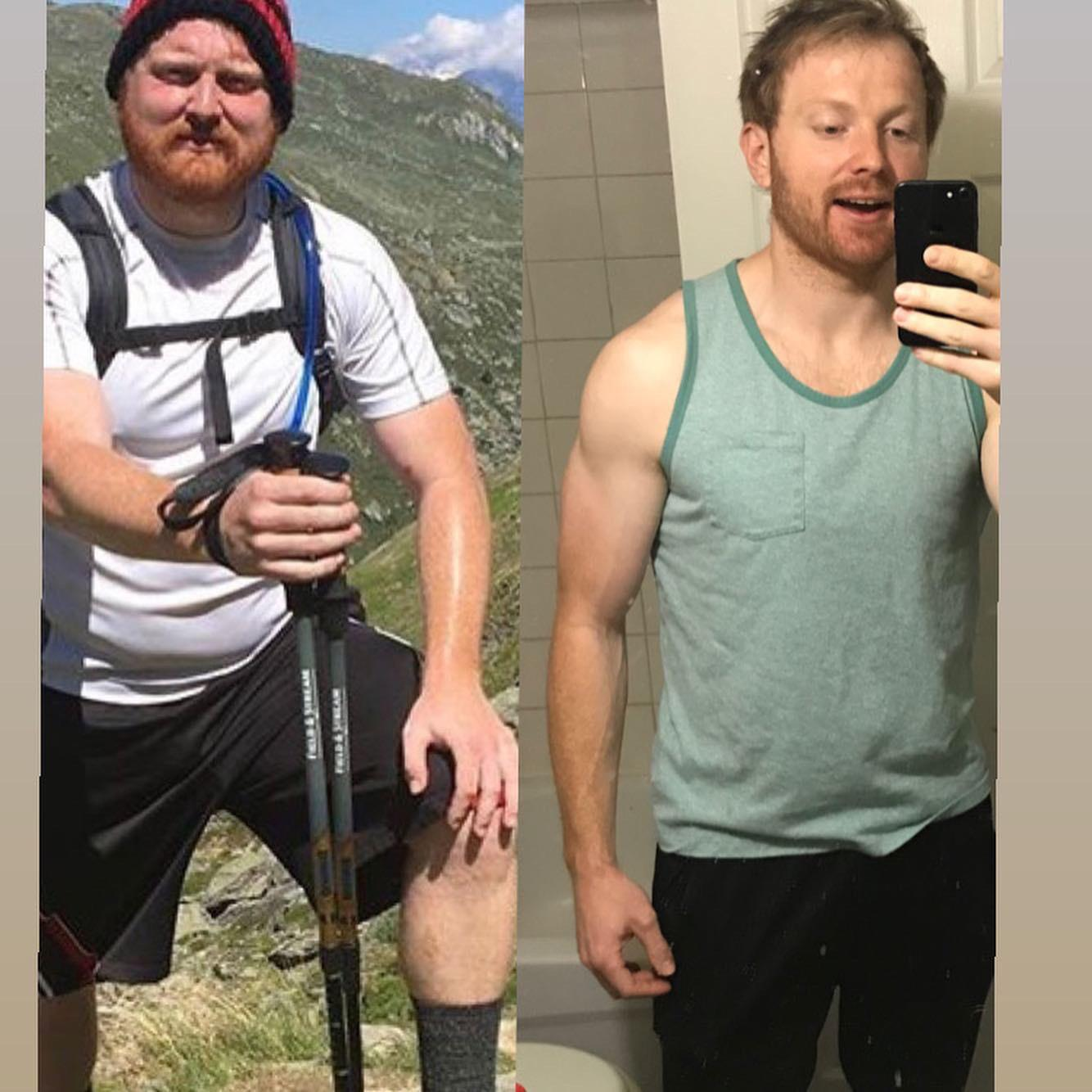 45 lbs Fat Loss Before and After 6 foot Male 230 lbs to 185 lbs
