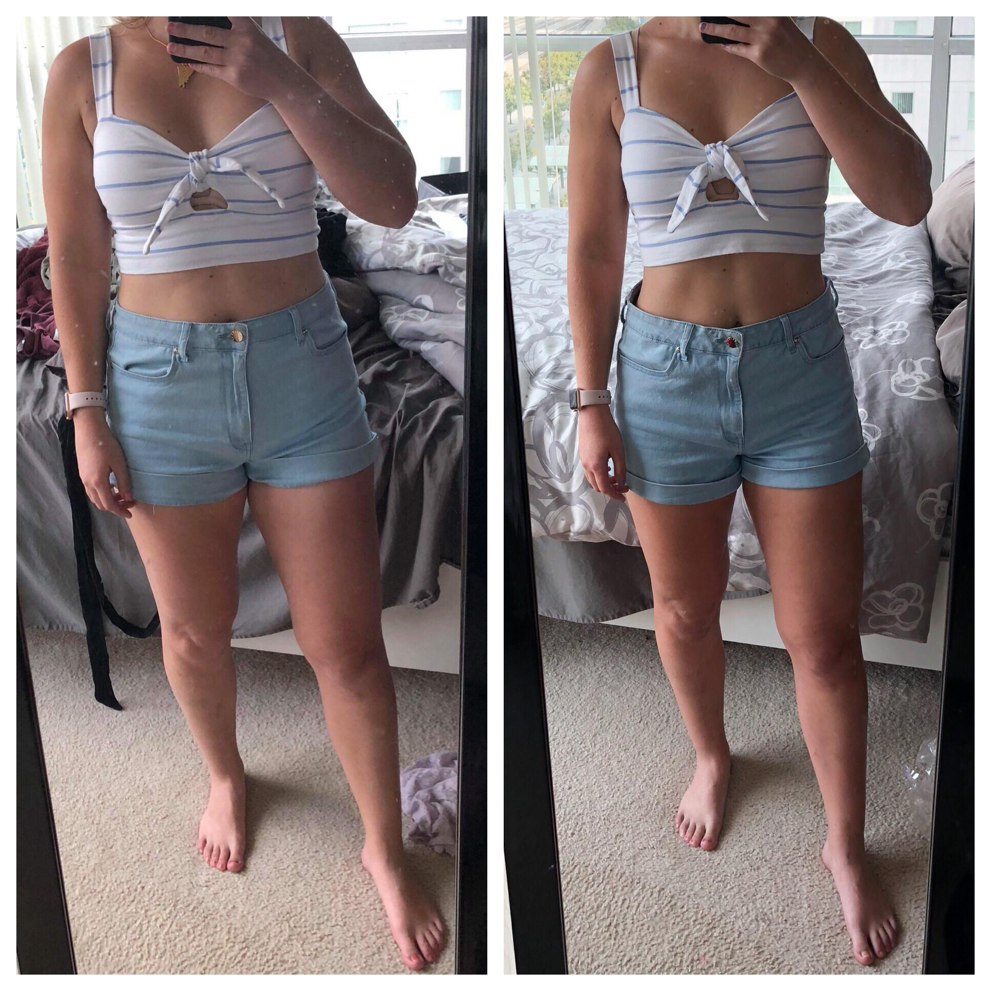 10 lbs Fat Loss Before and After 5 foot 6 Female 150 lbs to 140 lbs