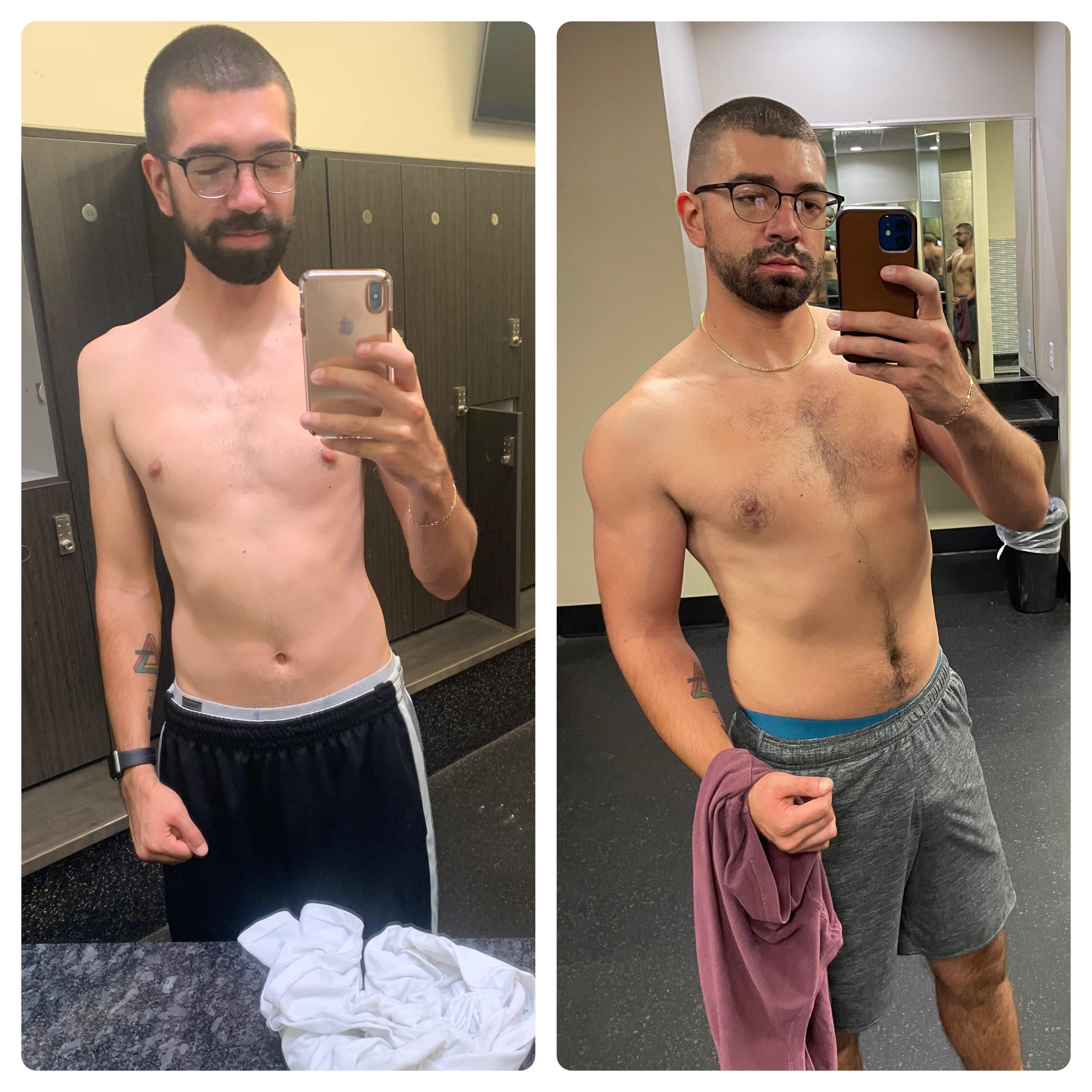 6 feet 1 Male Before and After 54 lbs Weight Gain 130 lbs to 184 lbs