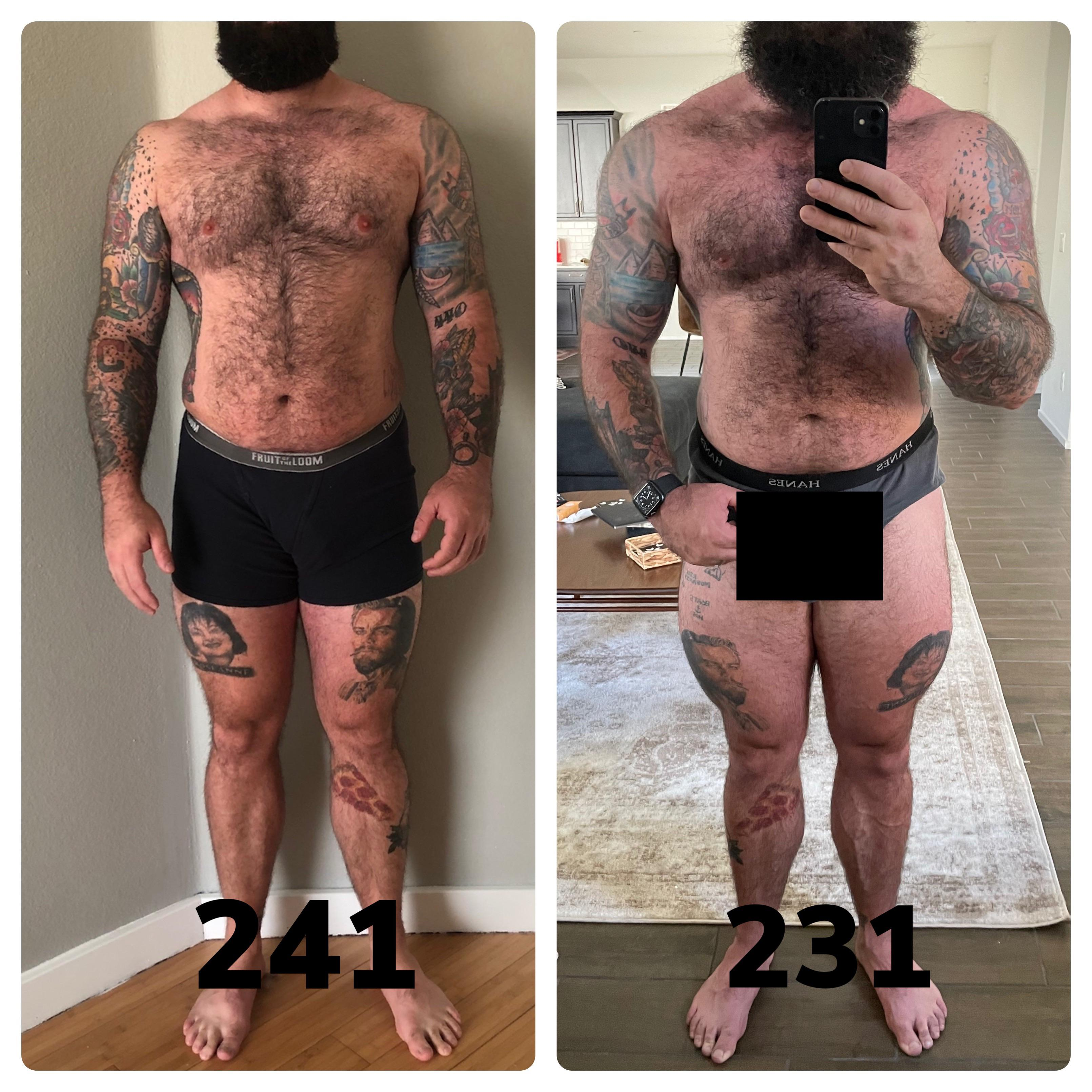 6 foot Male 10 lbs Weight Loss 241 lbs to 231 lbs