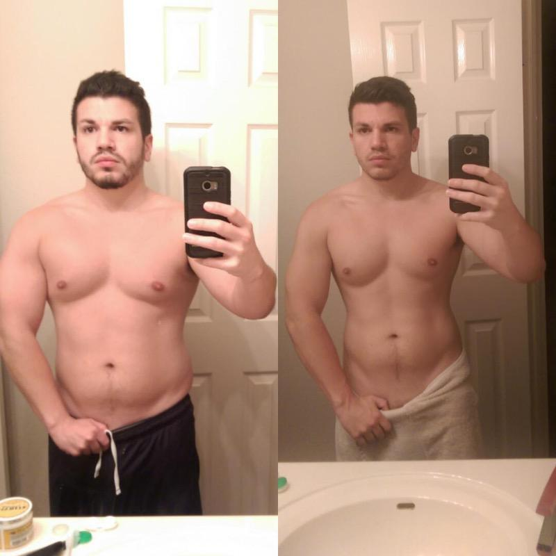 18 lbs Weight Loss Before and After 5 foot Male 198 lbs to 180 lbs