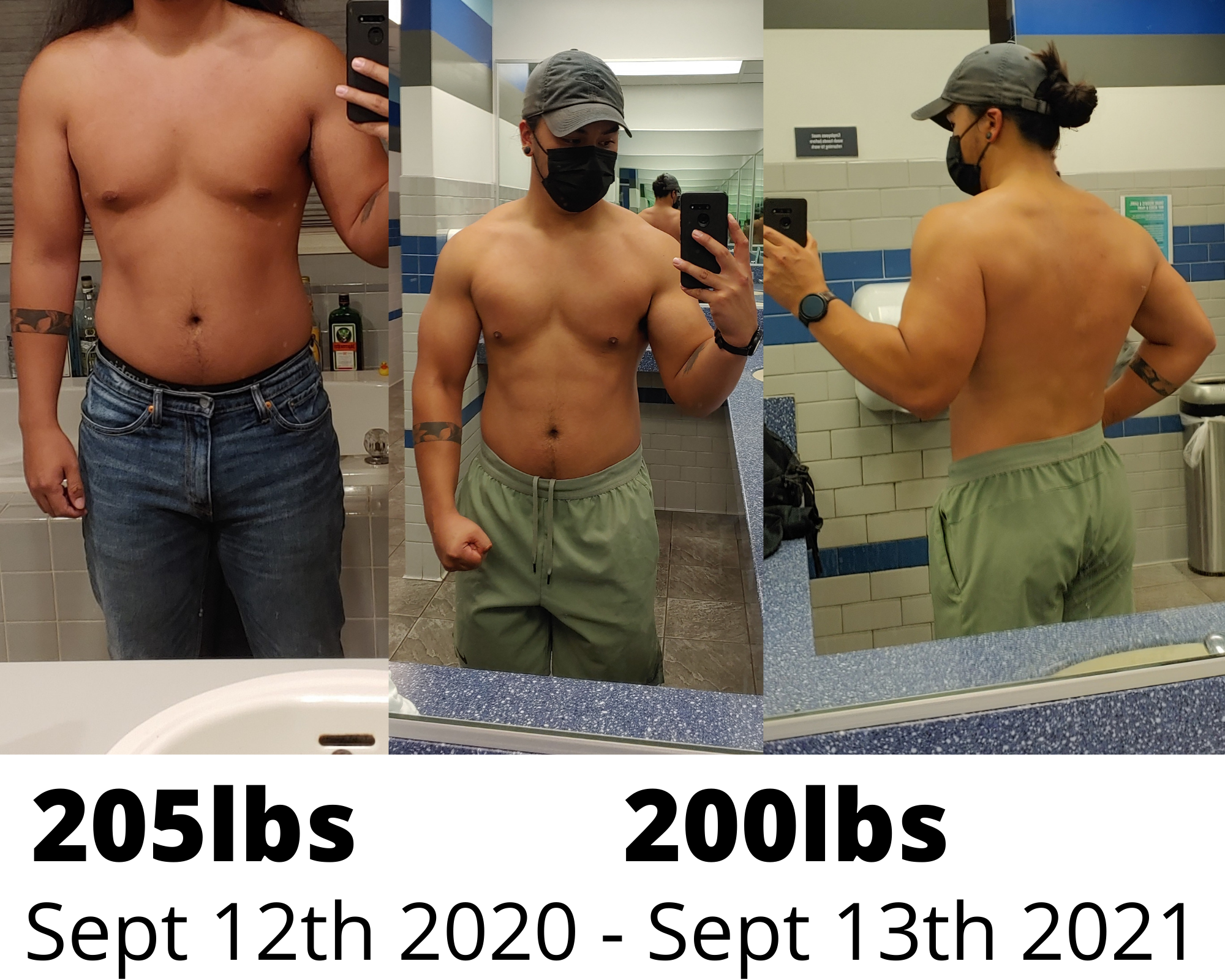 5'10 Male 5 lbs Weight Loss Before and After 205 lbs to 200 lbs