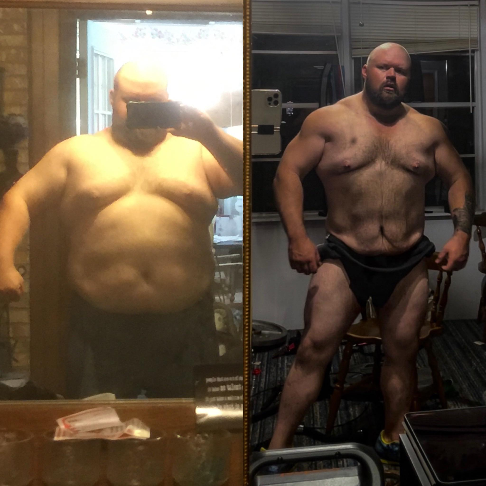 5 feet 10 Male Before and After 95 lbs Fat Loss 370 lbs to 275 lbs