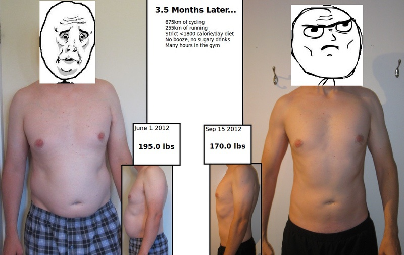 Before and After 25 lbs Weight Loss 6 foot Male 195 lbs to 170 lbs