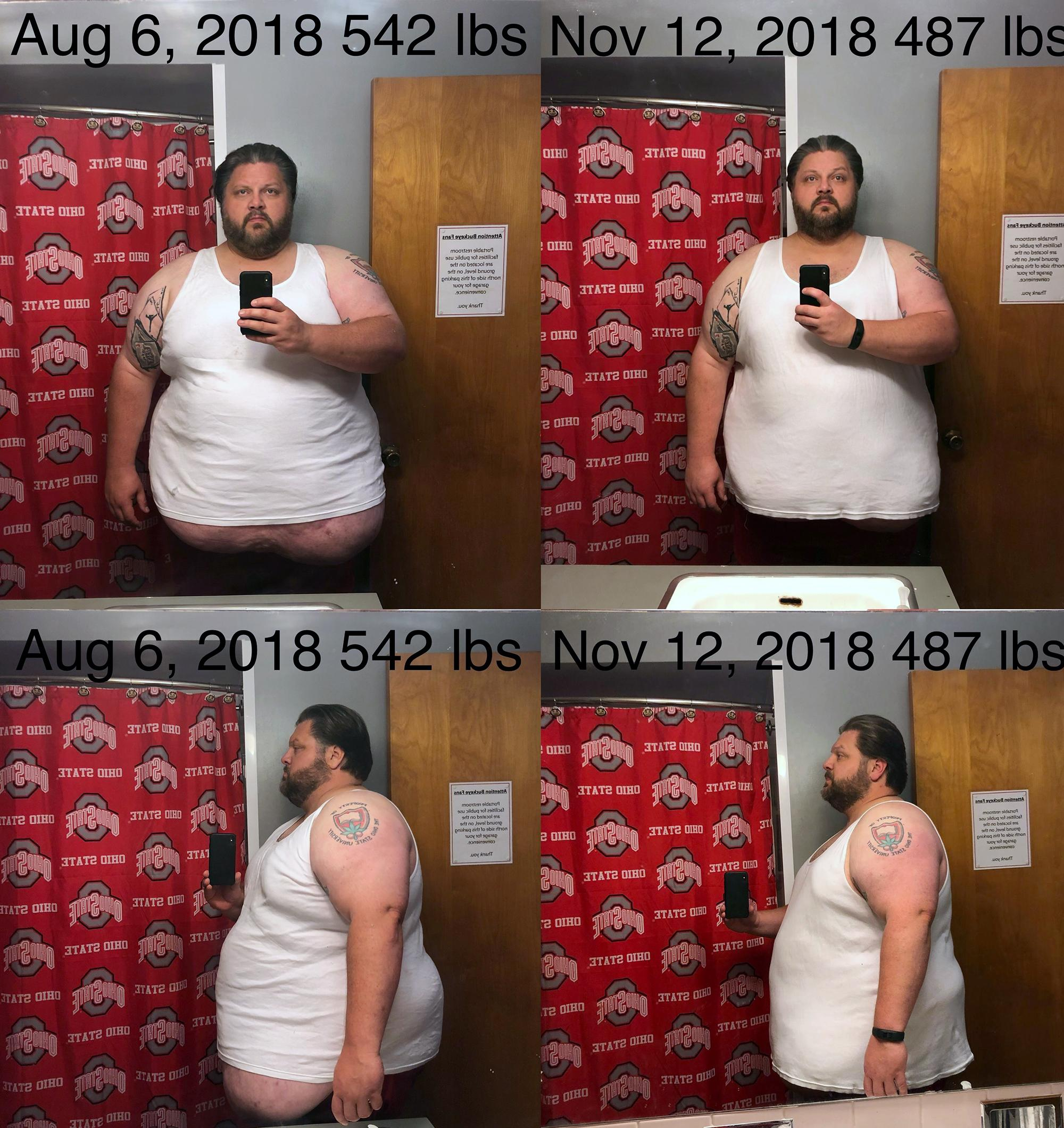 6'1 Male Before and After 55 lbs Fat Loss 542 lbs to 487 lbs