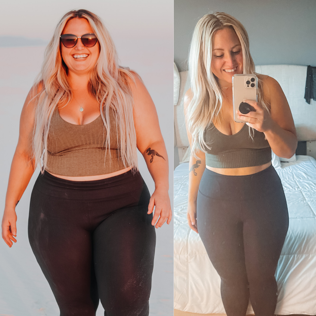 Before and After 65 lbs Fat Loss 5 foot 2 Female 251 lbs to 186 lbs