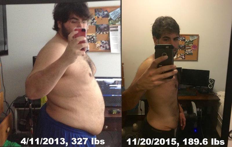 6 foot Male Before and After 138 lbs Fat Loss 327 lbs to 189 lbs