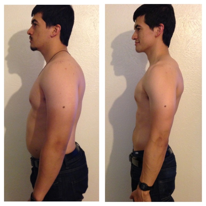 Before and After 40 lbs Fat Loss 5'7 Male 187 lbs to 147 lbs