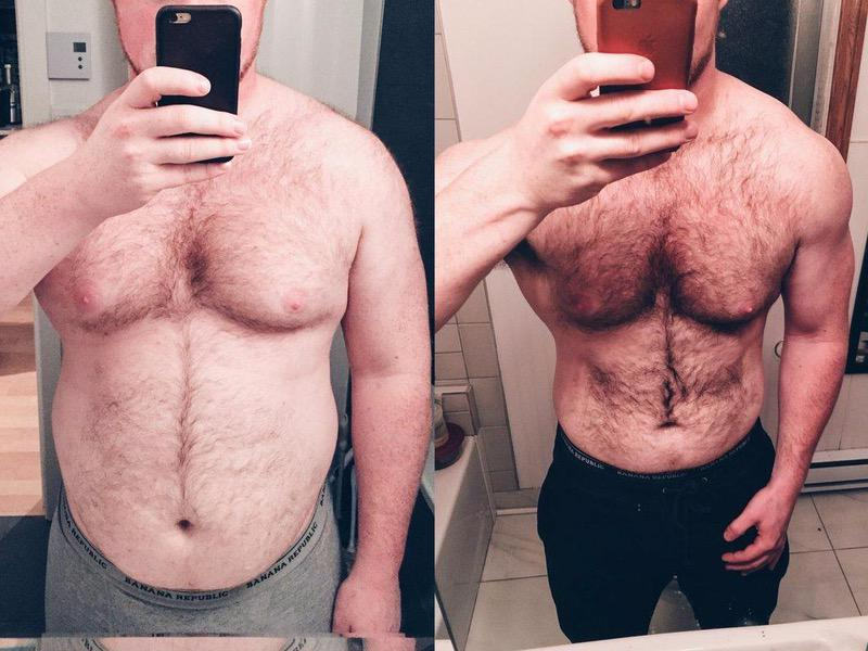 Before and After 50 lbs Fat Loss 6 foot 2 Male 285 lbs to 235 lbs