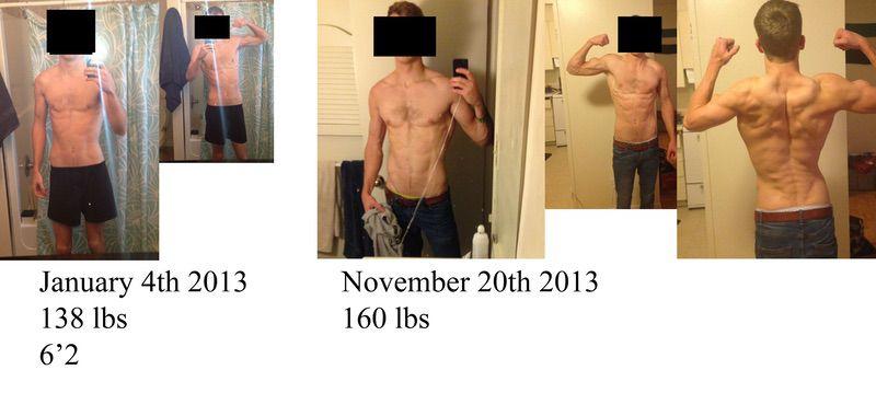 6 feet 2 Male 22 lbs Muscle Gain 138 lbs to 160 lbs