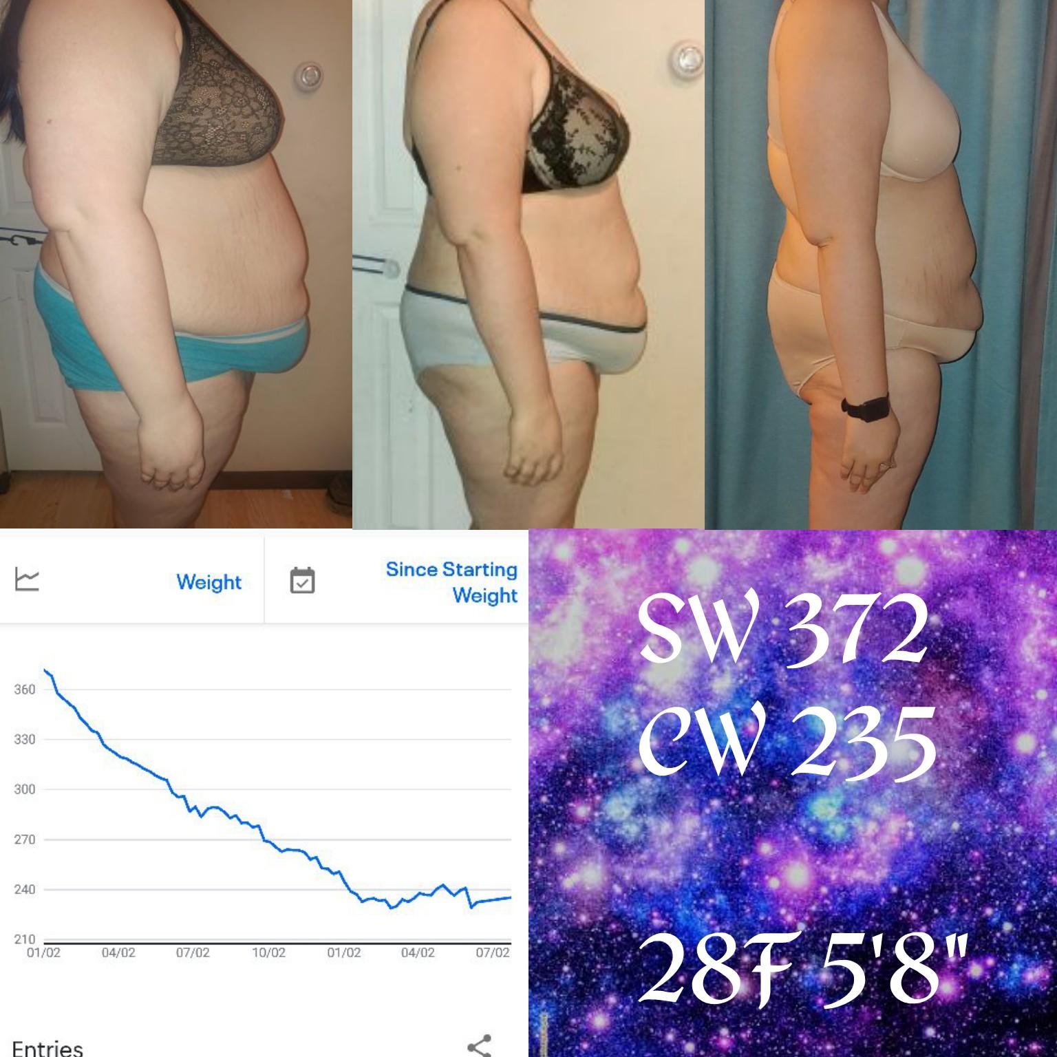 Progress Pics of 137 lbs Weight Loss 5 feet 8 Female 372 lbs to 235 lbs