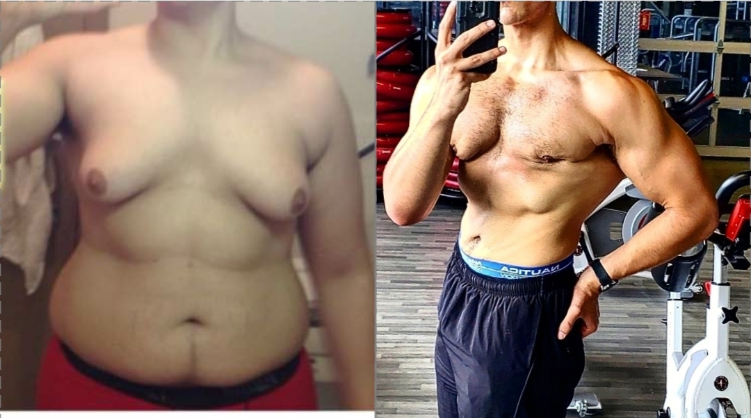 Before and After 80 lbs Fat Loss 6 feet 1 Male 290 lbs to 210 lbs