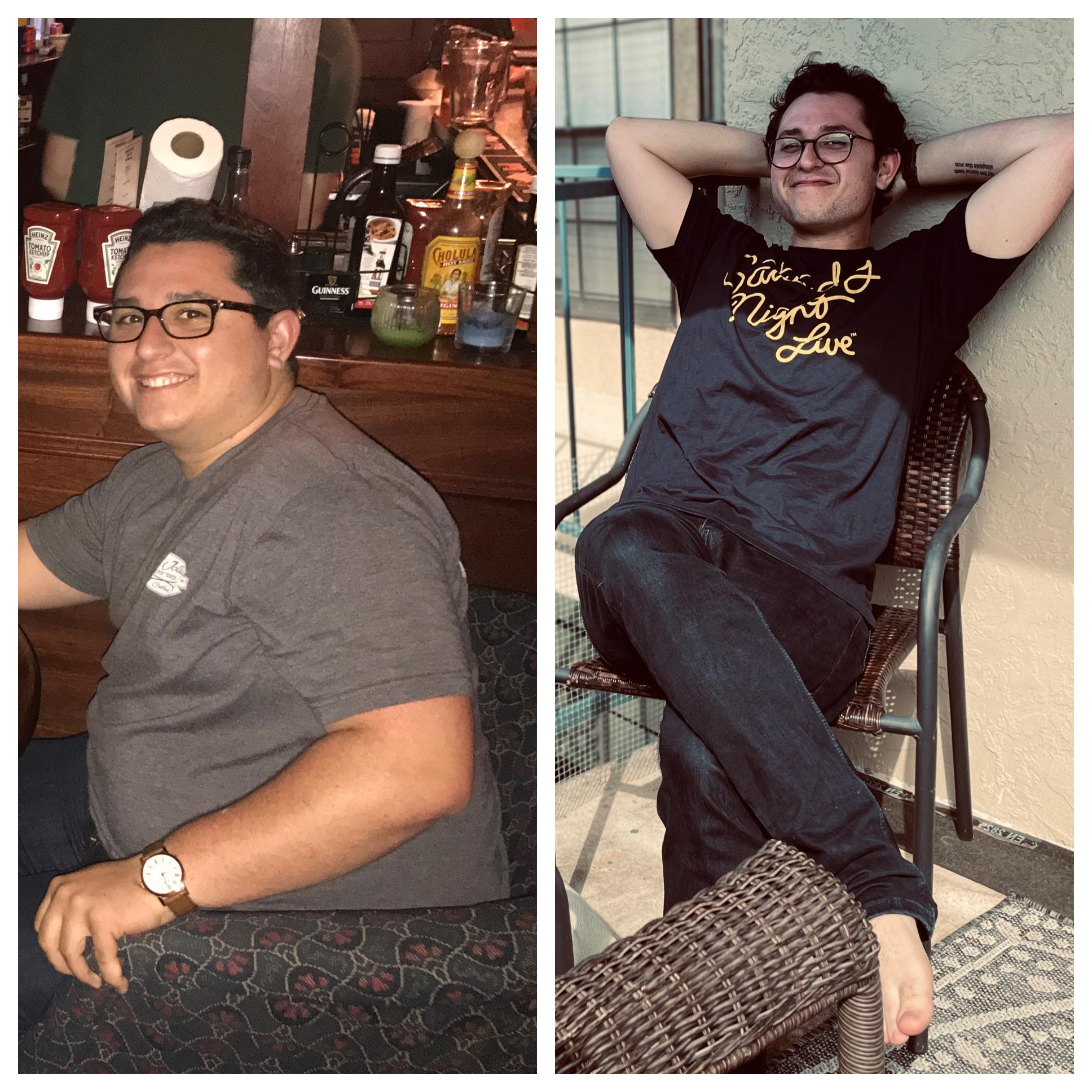 5 foot 7 Male Before and After 95 lbs Fat Loss 275 lbs to 180 lbs