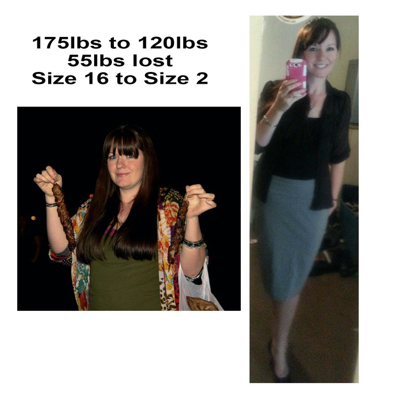 Before and After 55 lbs Fat Loss 5 feet 9 Female 175 lbs to 120 lbs