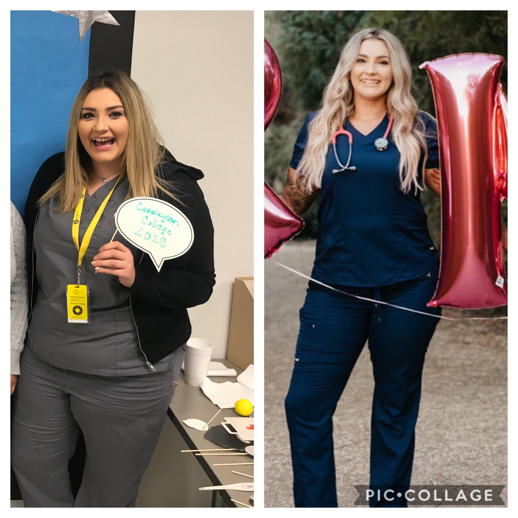 70 lbs Weight Loss Before and After 5 foot 8 Female 275 lbs to 205 lbs