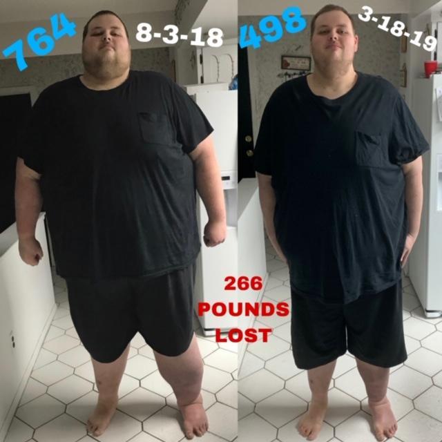 6'8 Male 266 lbs Fat Loss 764 lbs to 498 lbs