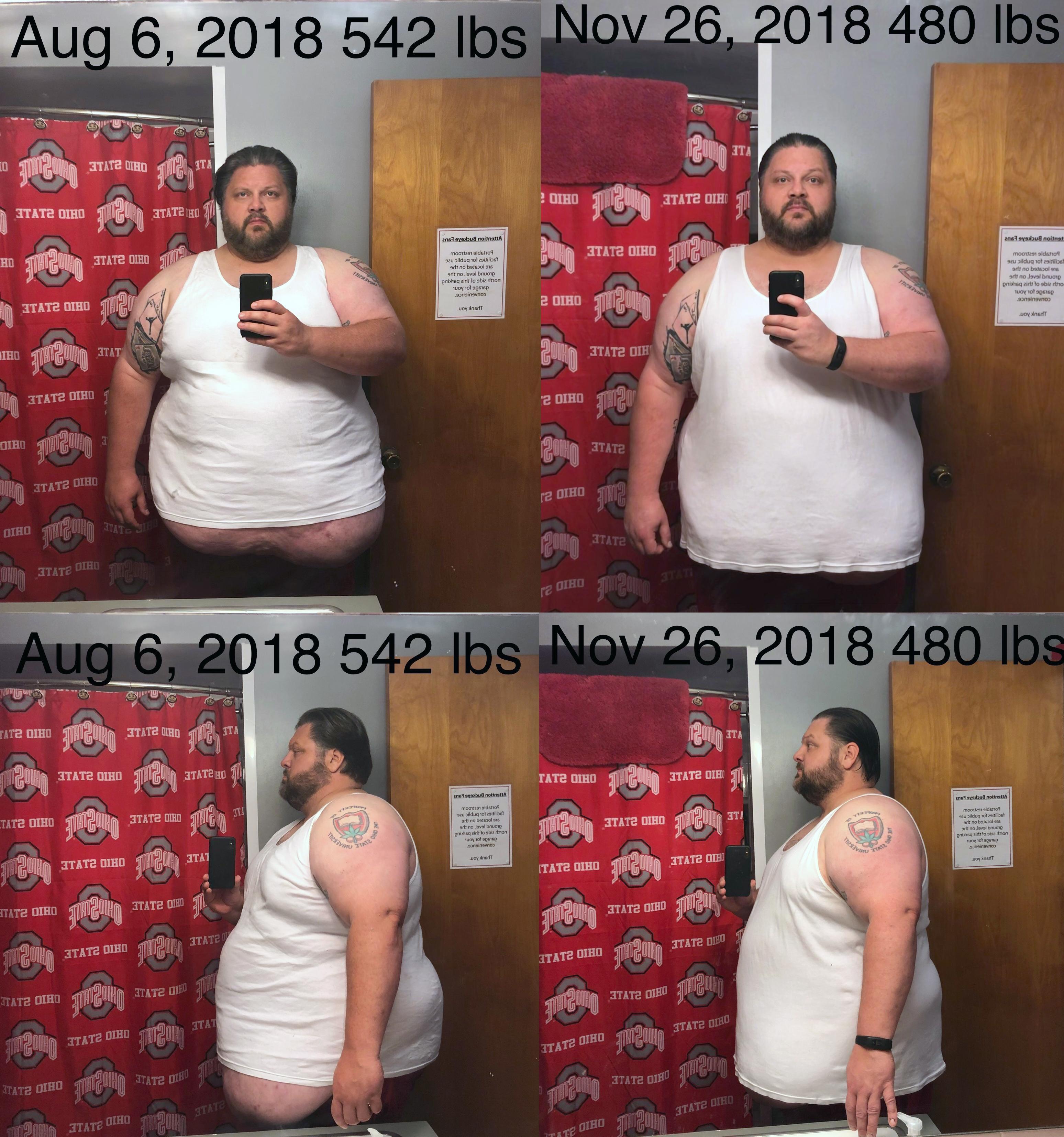 6'1 Male 62 lbs Fat Loss 542 lbs to 480 lbs