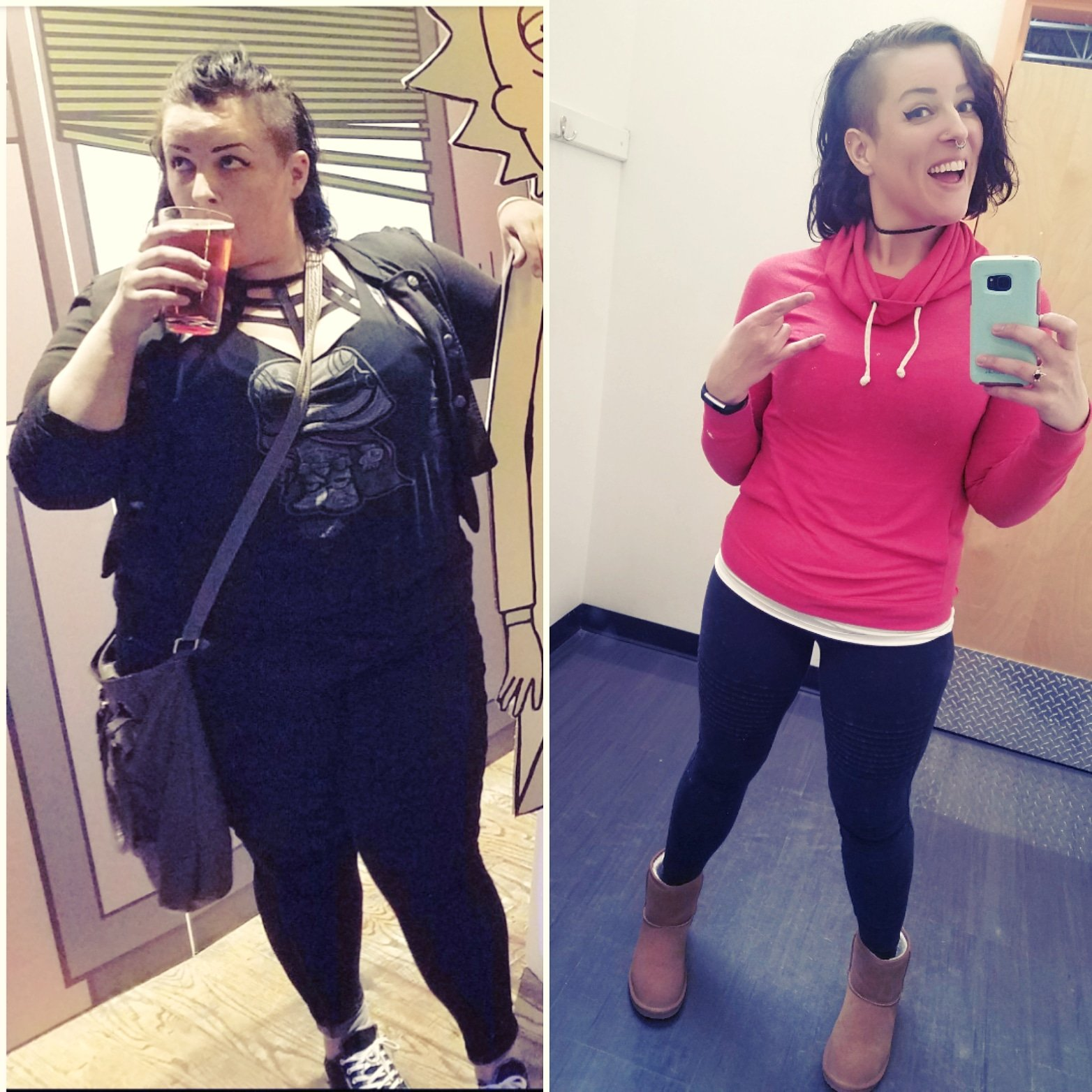 Before and After 100 lbs Fat Loss 5 feet 8 Female 282 lbs to 182 lbs