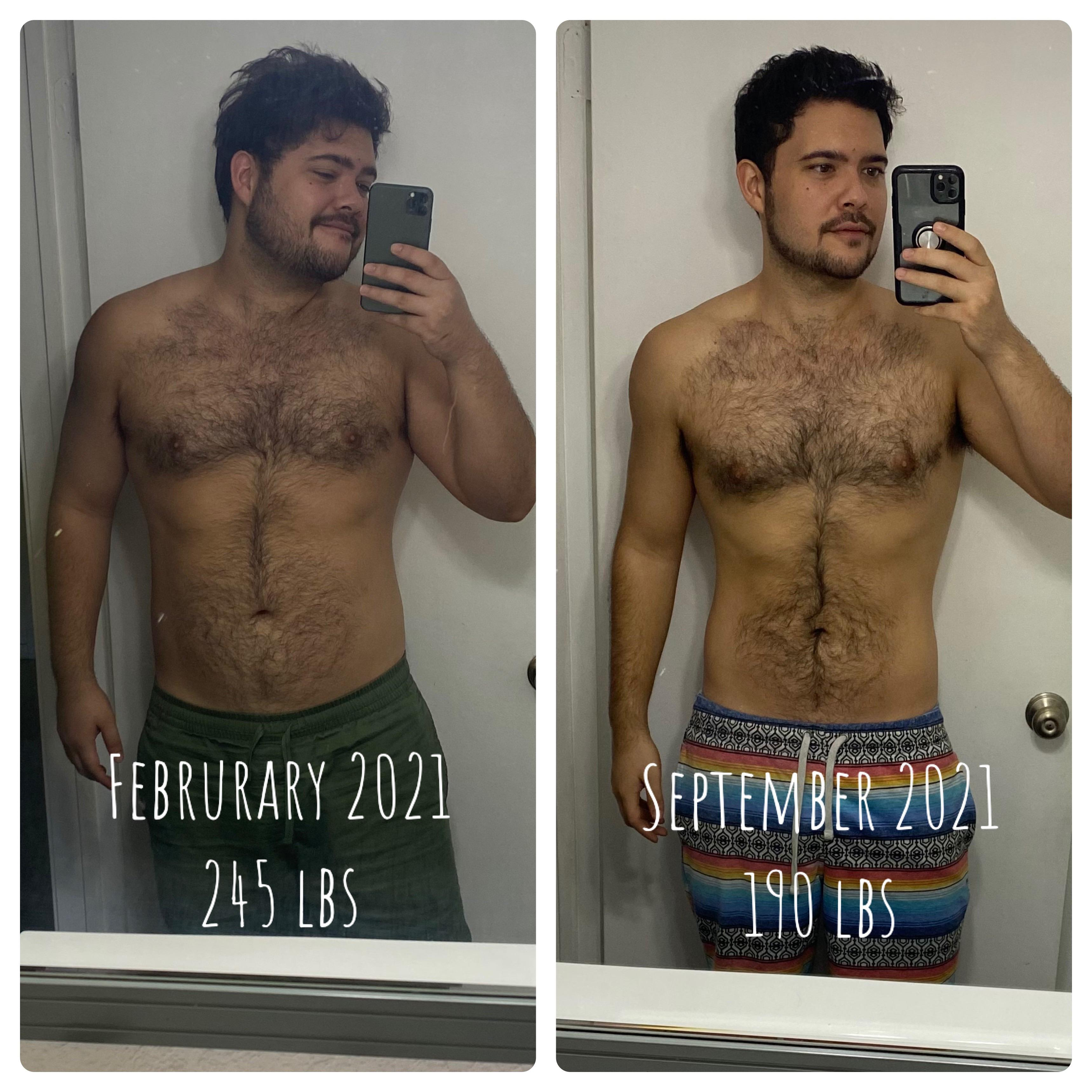 6 foot Male Before and After 55 lbs Fat Loss 245 lbs to 190 lbs
