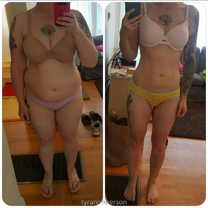 5 feet 6 Female 72 lbs Fat Loss Before and After 209 lbs to 137 lbs