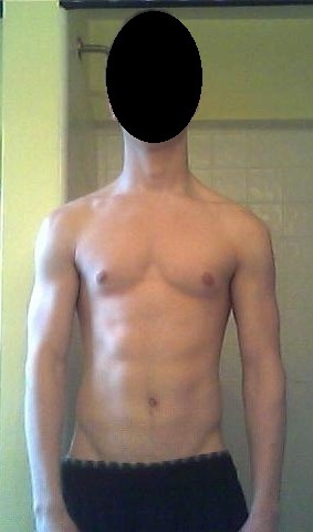 Before and After 28 lbs Muscle Gain 5 foot 9 Male 130 lbs to 158 lbs