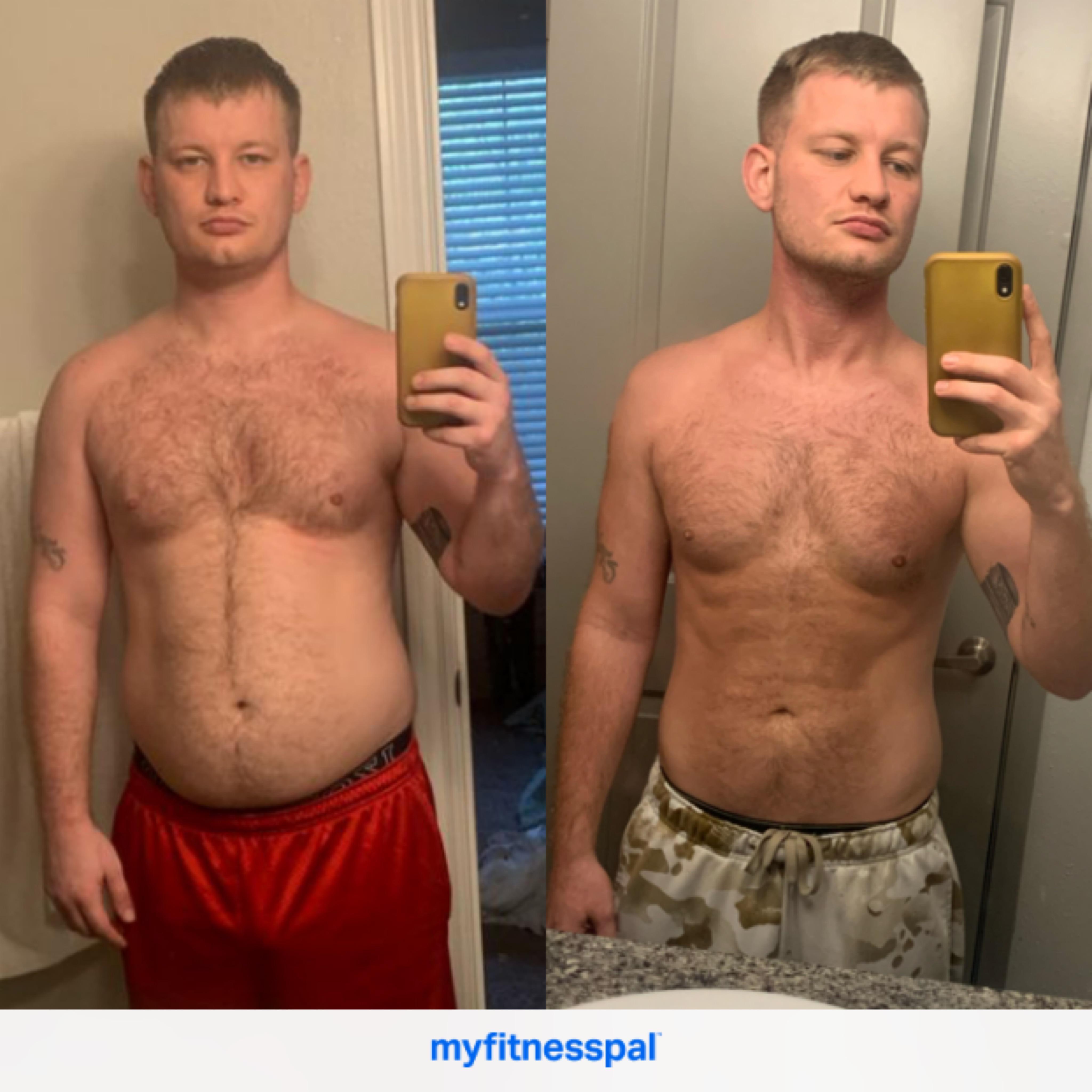 5 foot 10 Male 40 lbs Fat Loss 205 lbs to 165 lbs