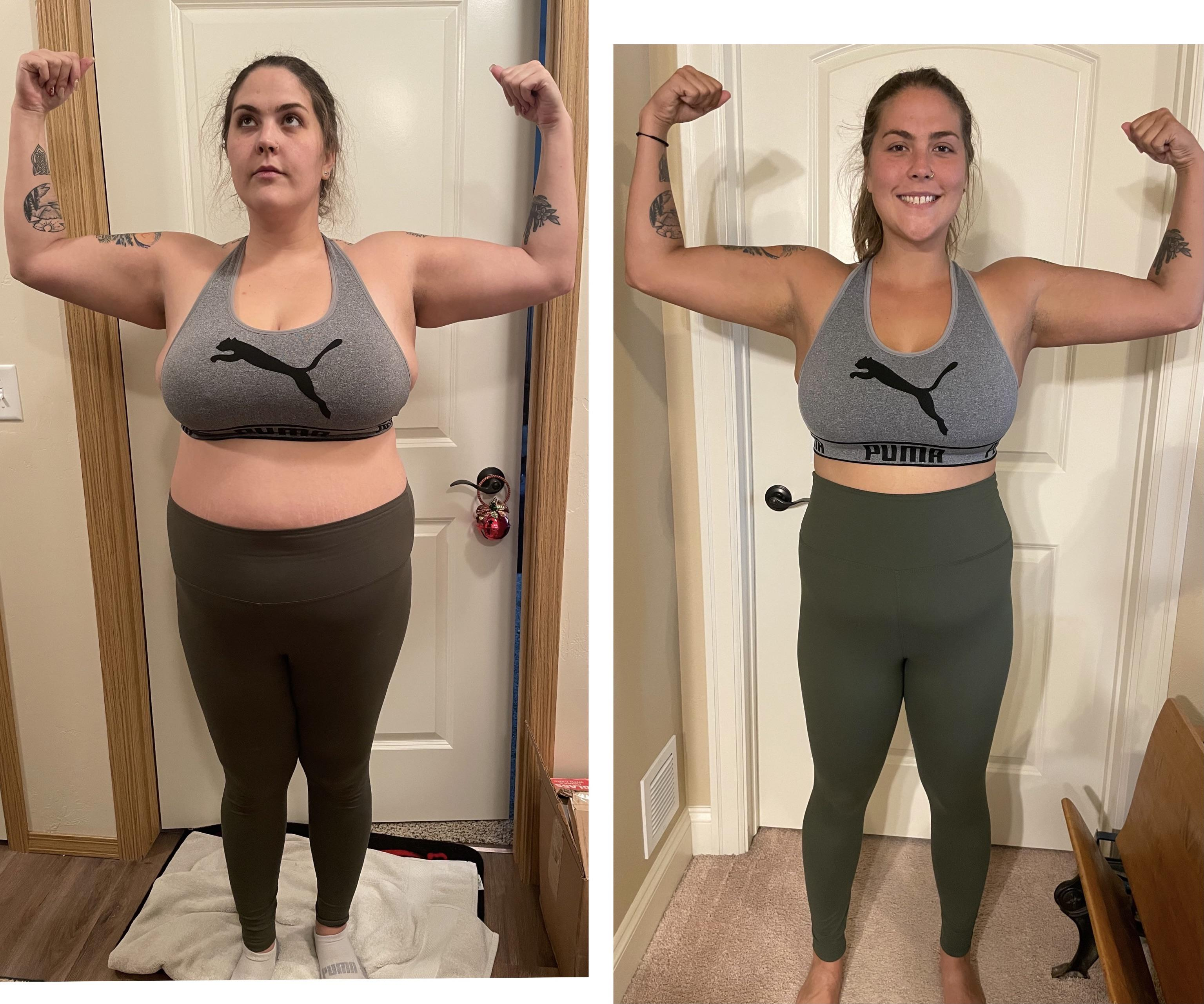 5 foot 8 Female Before and After 50 lbs Weight Loss 233 lbs to 183 lbs