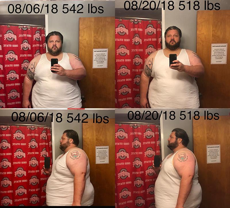 Before and After 24 lbs Fat Loss 6'1 Male 542 lbs to 518 lbs