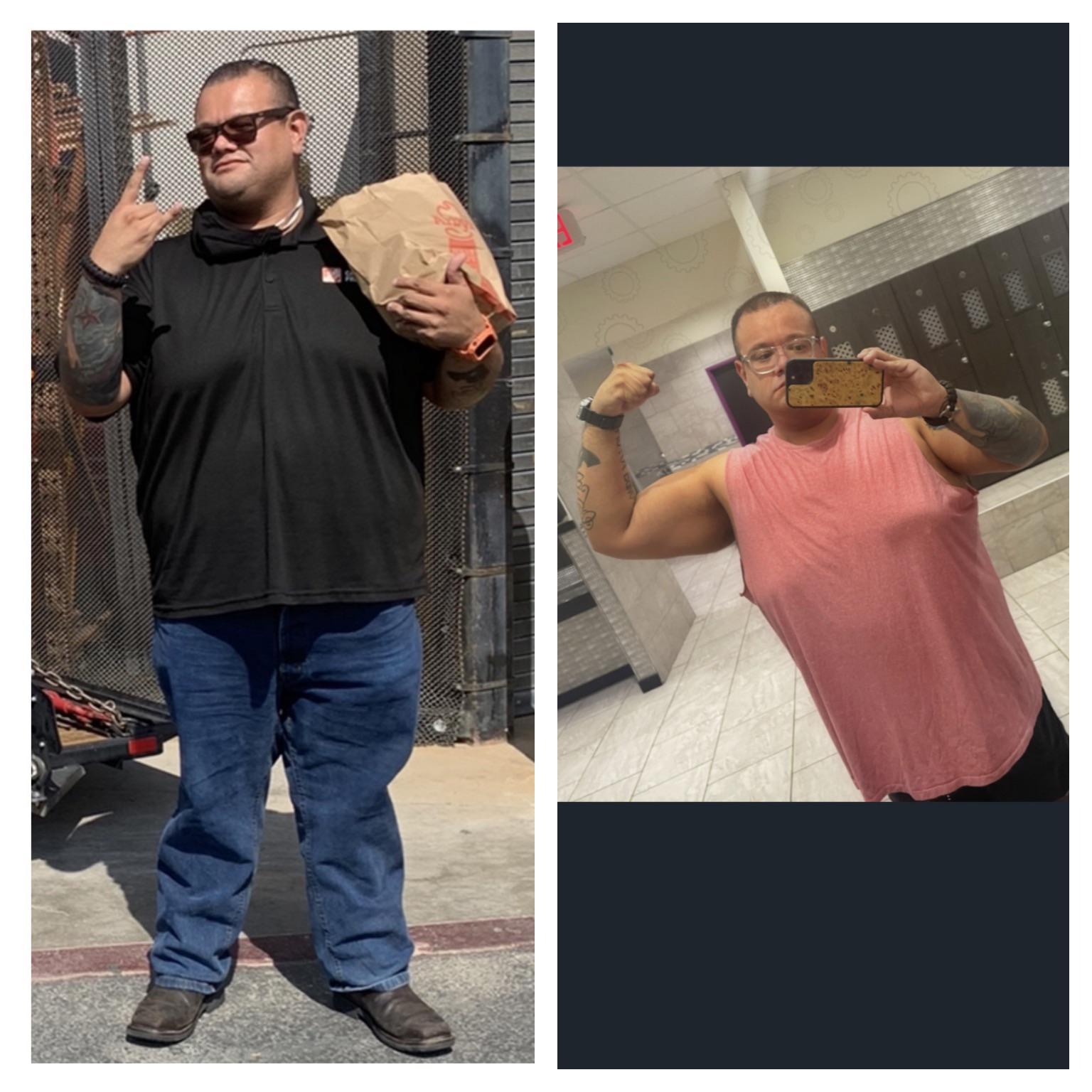 6 feet 1 Male Progress Pics of 56 lbs Fat Loss 376 lbs to 320 lbs