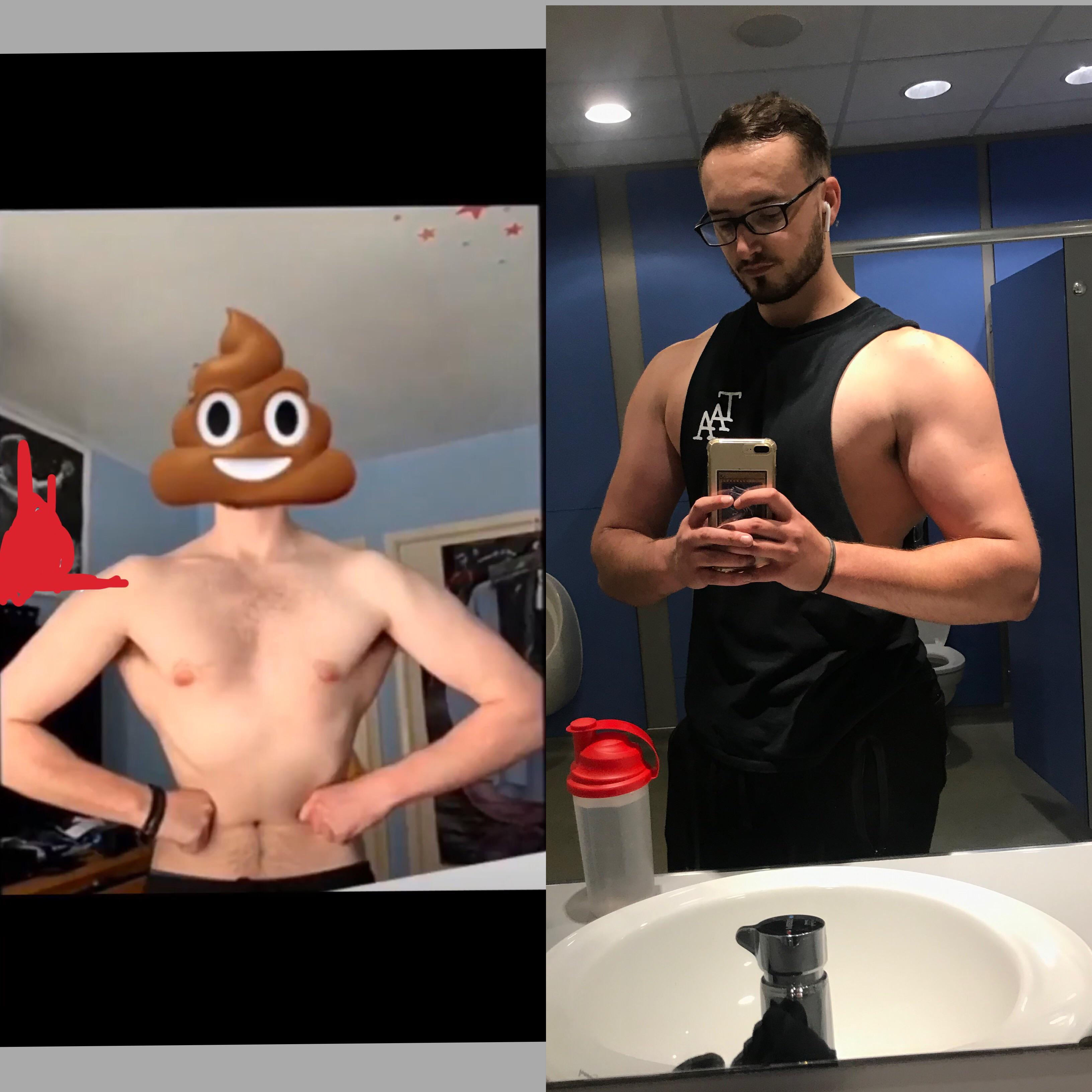 6 foot 4 Male Before and After 47 lbs Muscle Gain 169 lbs to 216 lbs