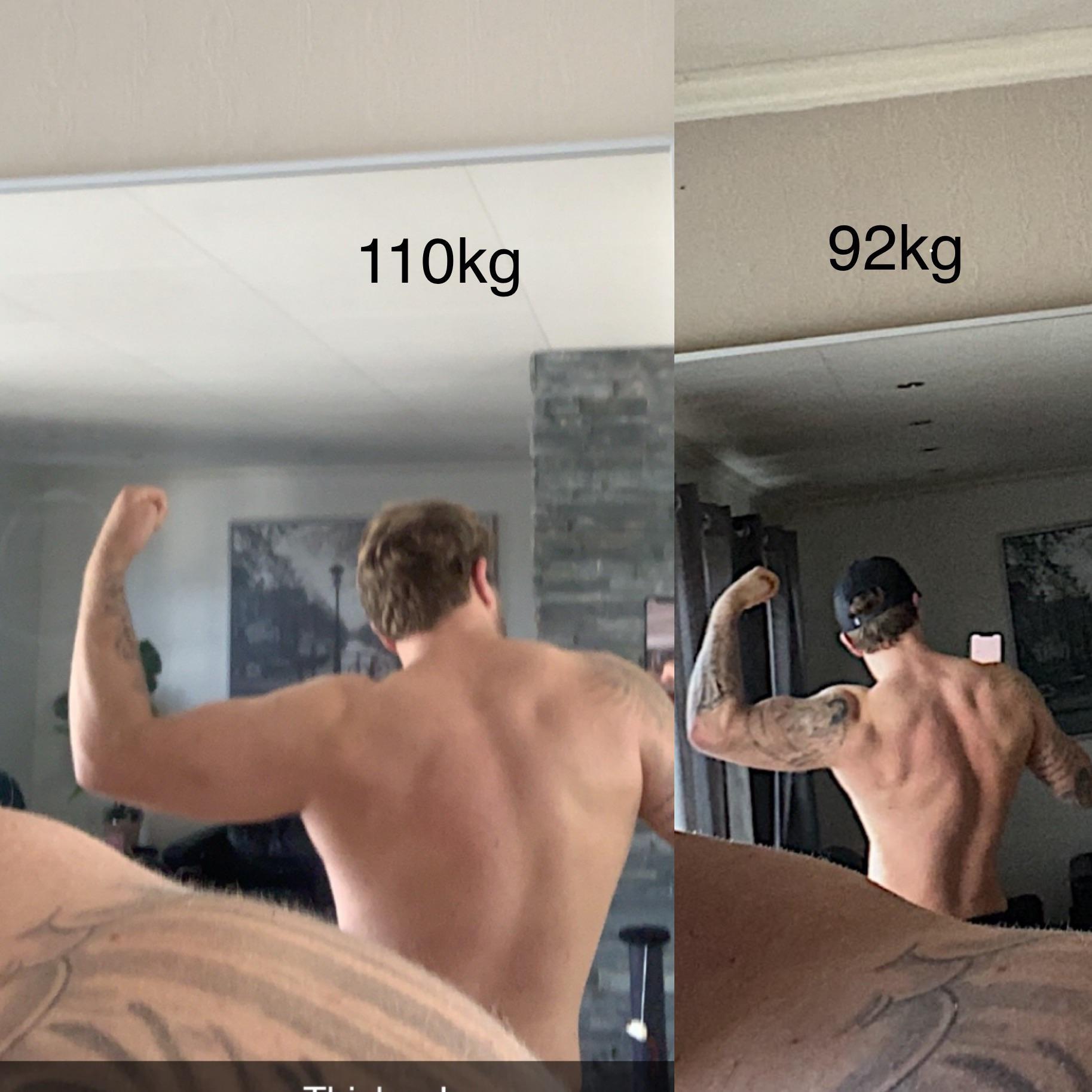 30 lbs Fat Loss 6 feet 2 Male 245 lbs to 215 lbs