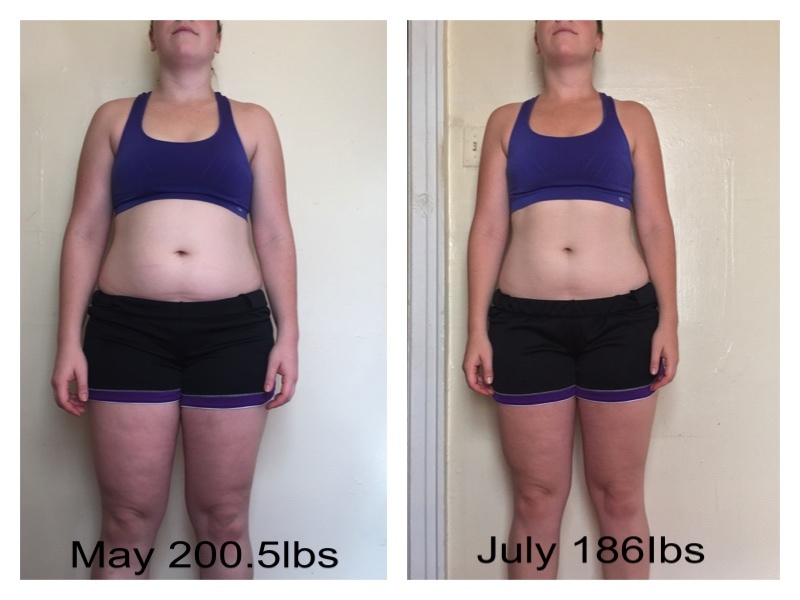14 lbs Fat Loss Before and After 5 feet 10 Female 200 lbs to 186 lbs