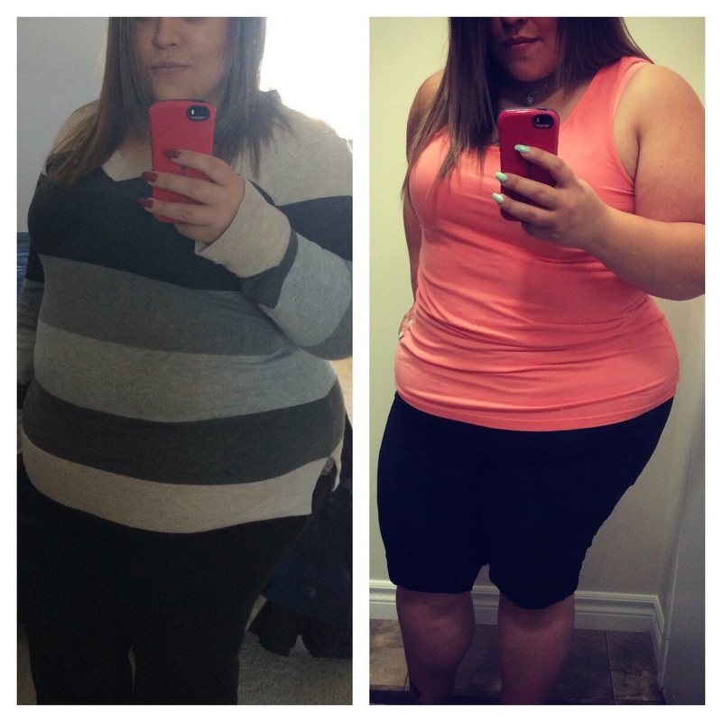 Before and After 30 lbs Weight Loss 5 foot Female 253 lbs to 223 lbs