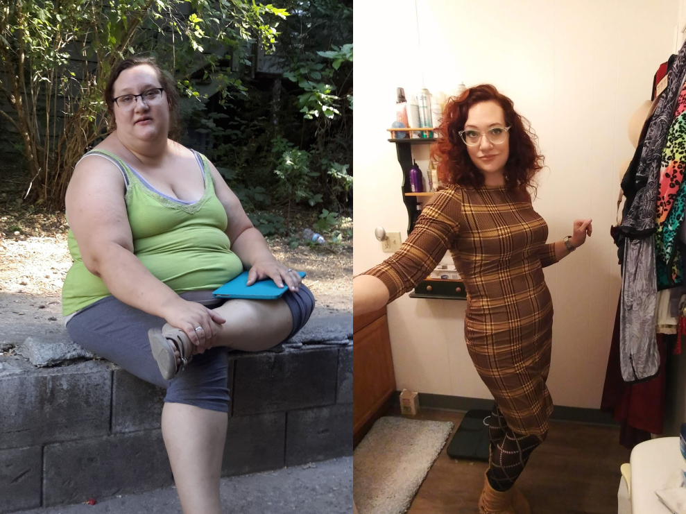 5 foot 5 Female Before and After 150 lbs Fat Loss 300 lbs to 150 lbs