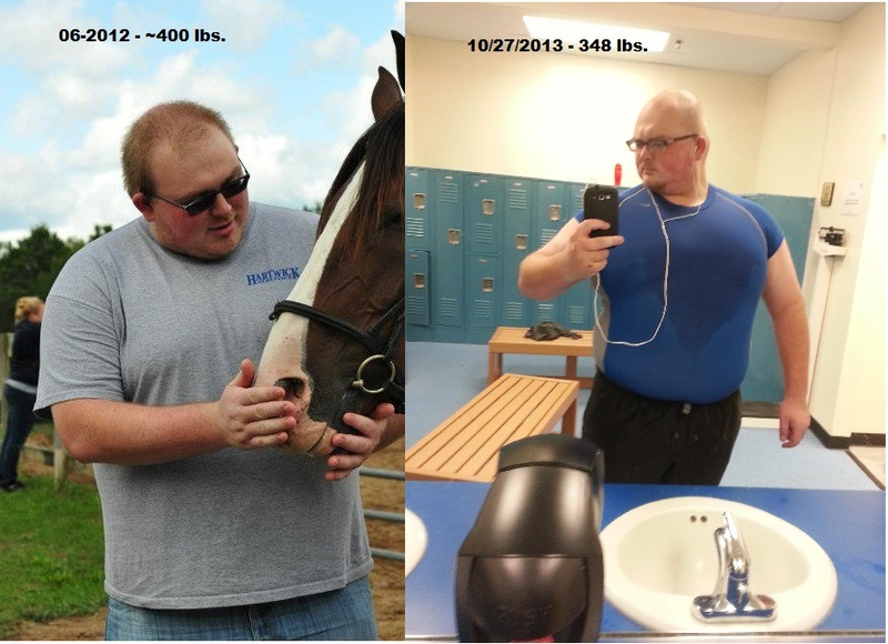 52 lbs Fat Loss Before and After 6 feet 2 Male 400 lbs to 348 lbs