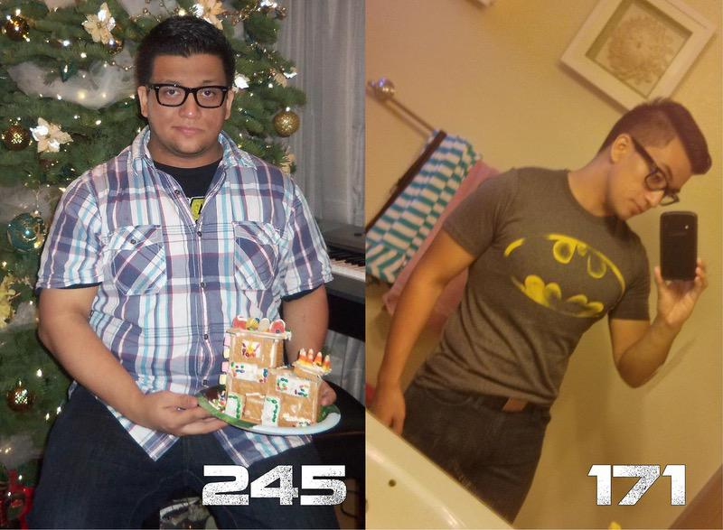 Before and After 74 lbs Fat Loss 5 feet 7 Male 245 lbs to 171 lbs