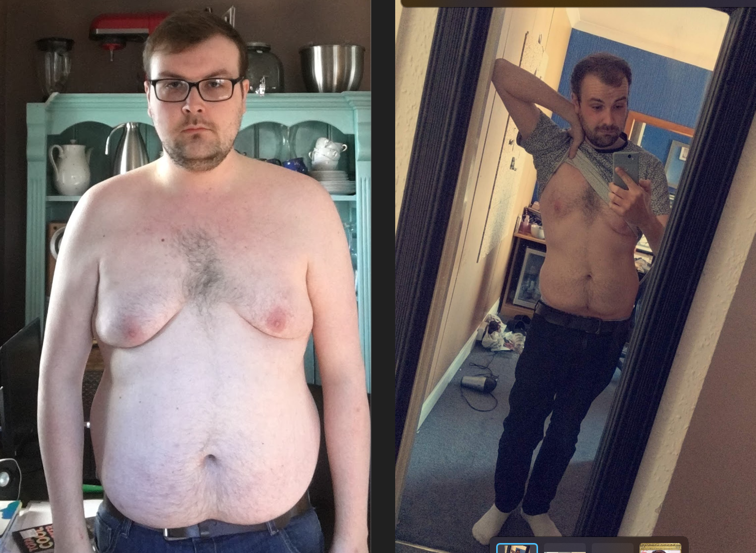 6 foot 2 Male Before and After 91 lbs Fat Loss 266 lbs to 175 lbs