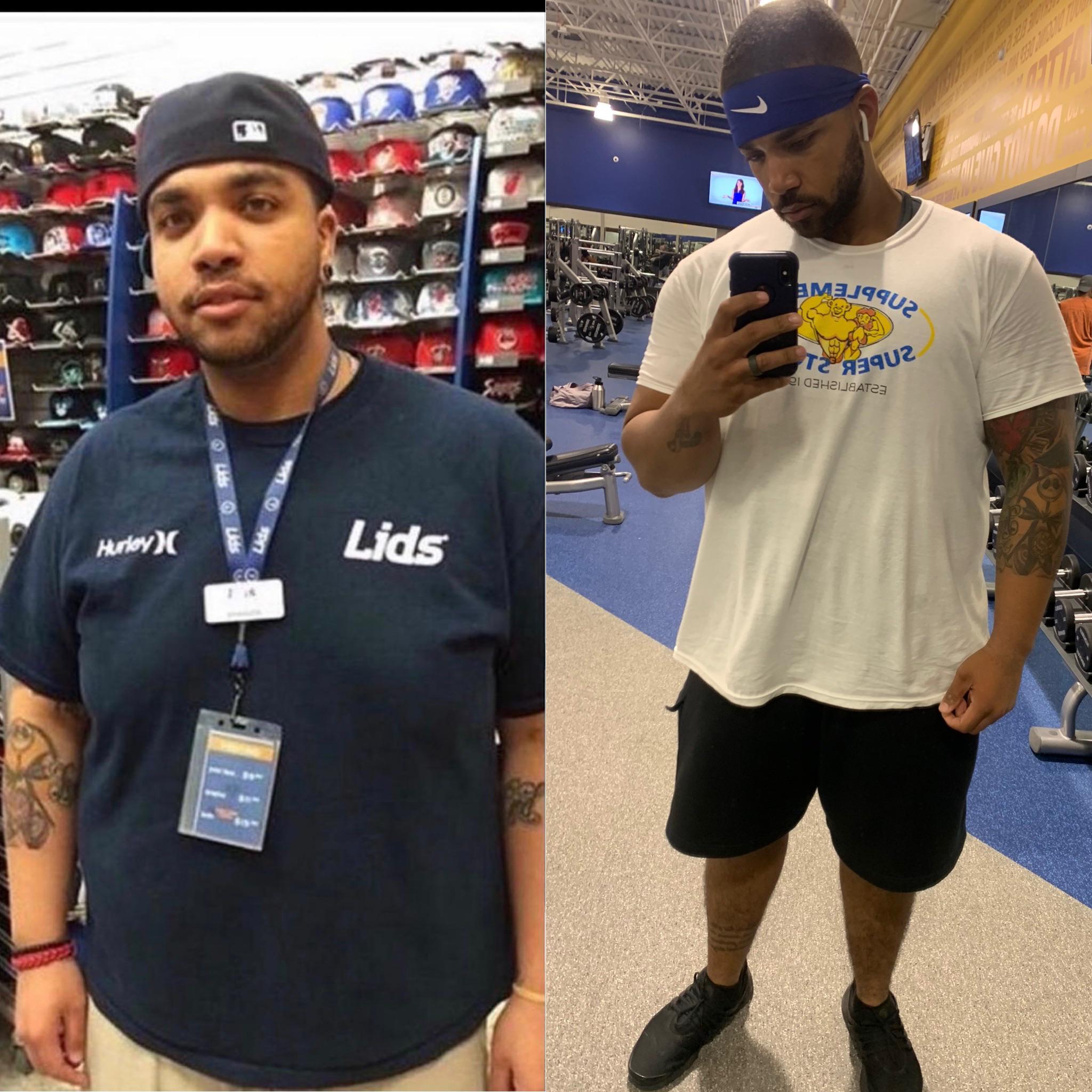 Progress Pics of 110 lbs Weight Loss 6 feet 3 Male 385 lbs to 275 lbs