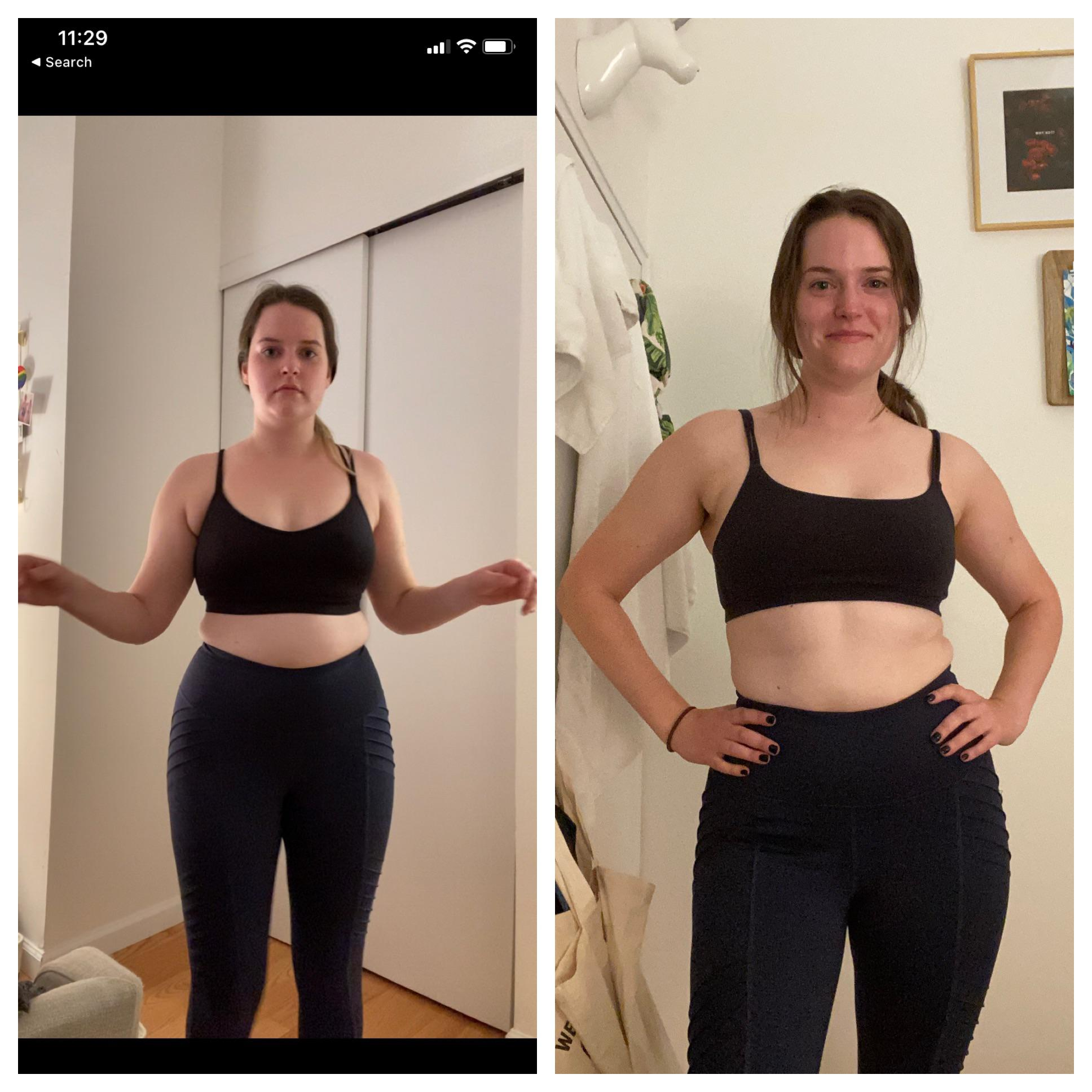 5 feet 7 Female Before and After 25 lbs Weight Loss 170 lbs to 145 lbs