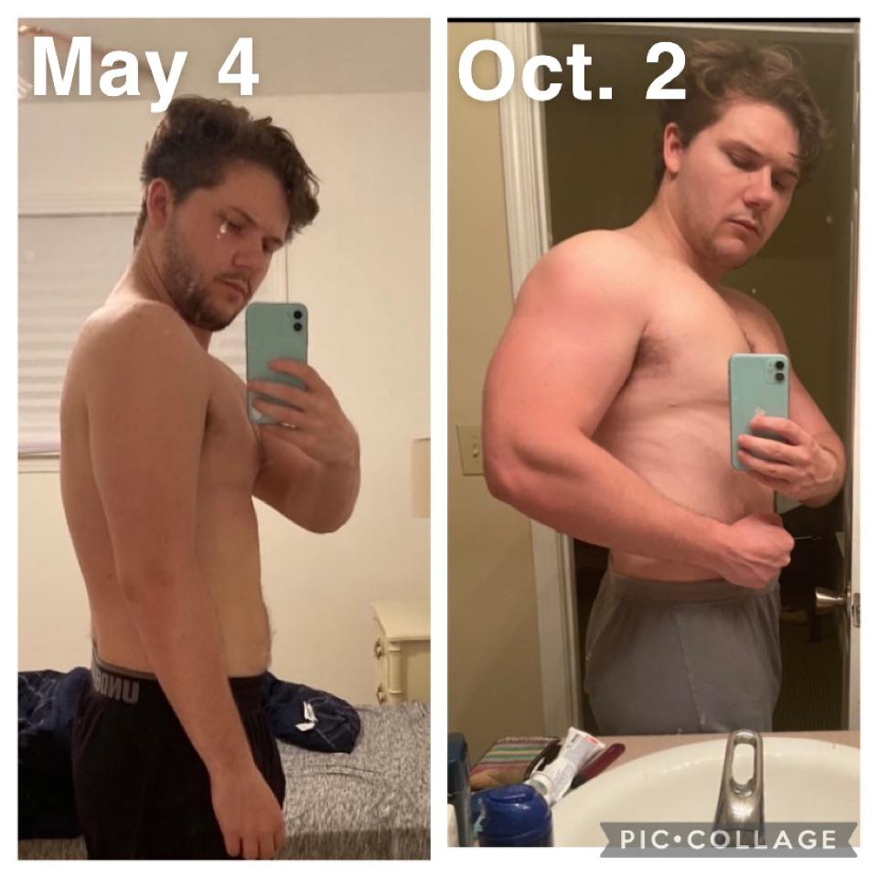 5 foot 10 Male 17 lbs Weight Gain Before and After 186 lbs to 203 lbs
