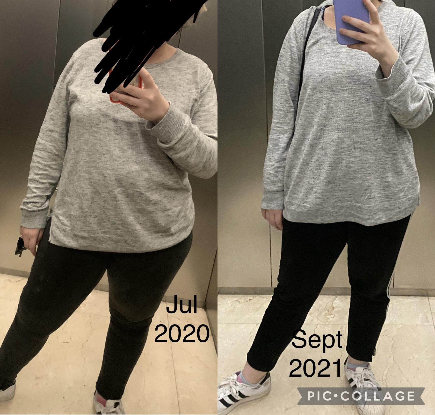 33 lbs Weight Loss Before and After 5'1 Female 176 lbs to 143 lbs