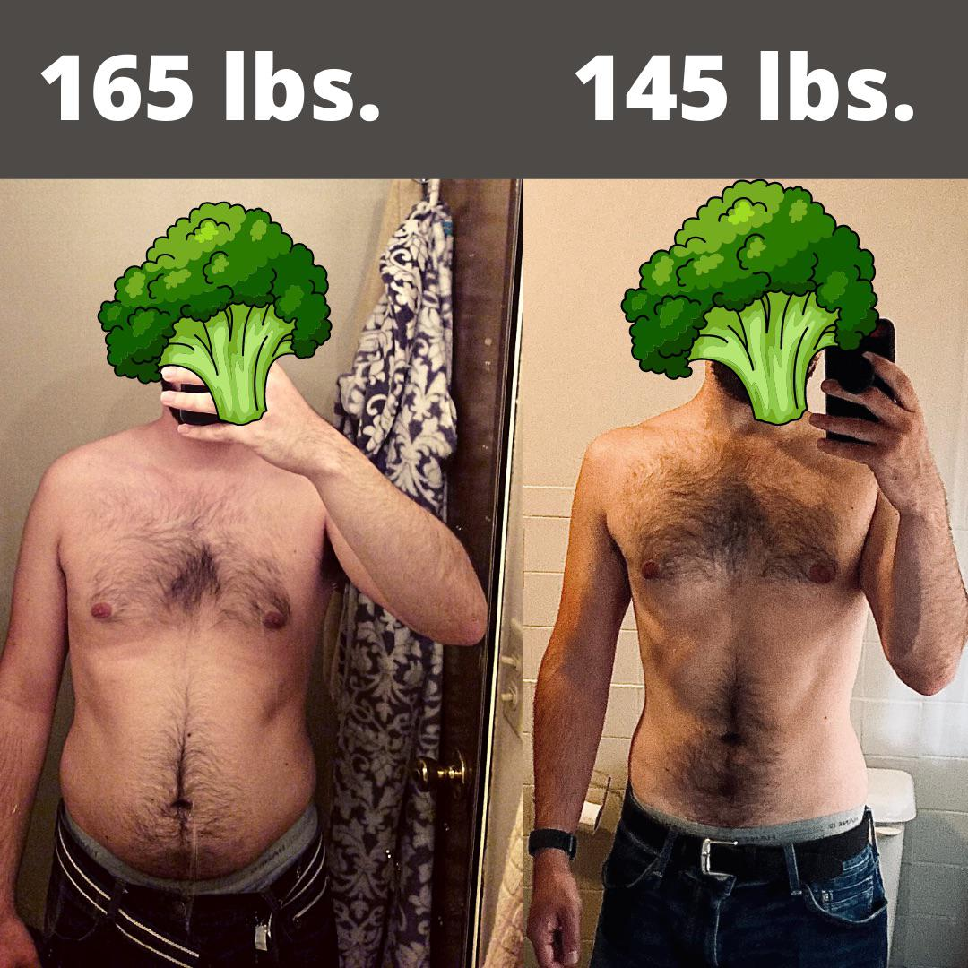 20 lbs Weight Loss Before and After 5'7 Male 165 lbs to 145 lbs