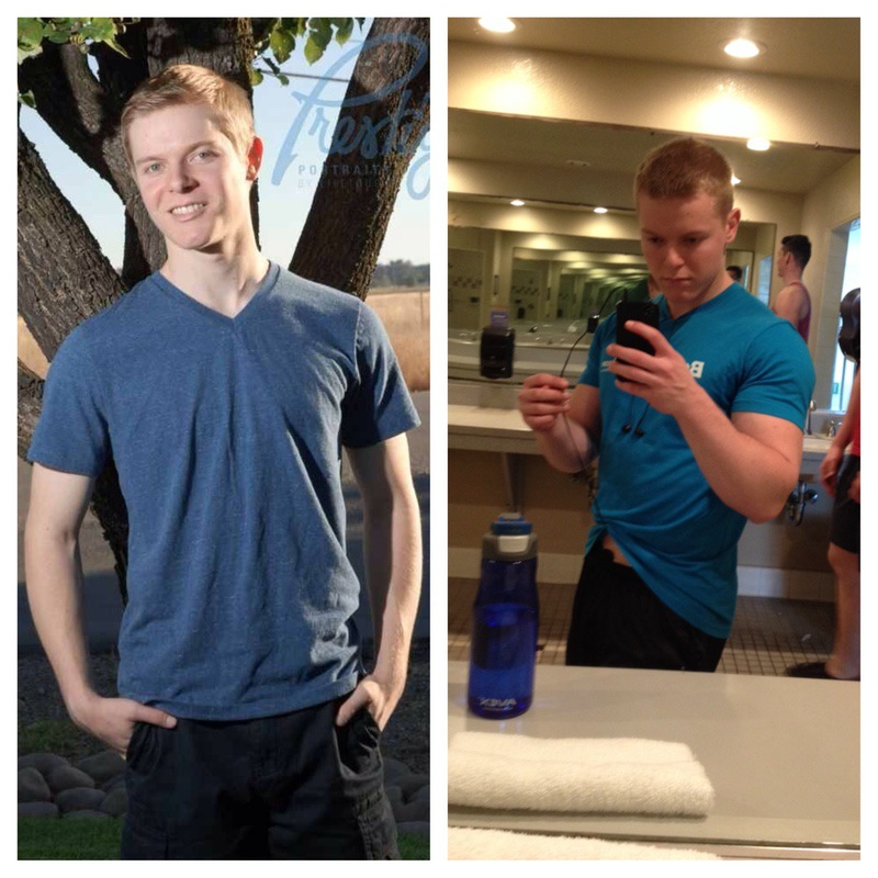 45 lbs Weight Gain Before and After 5 foot 8 Male 130 lbs to 175 lbs