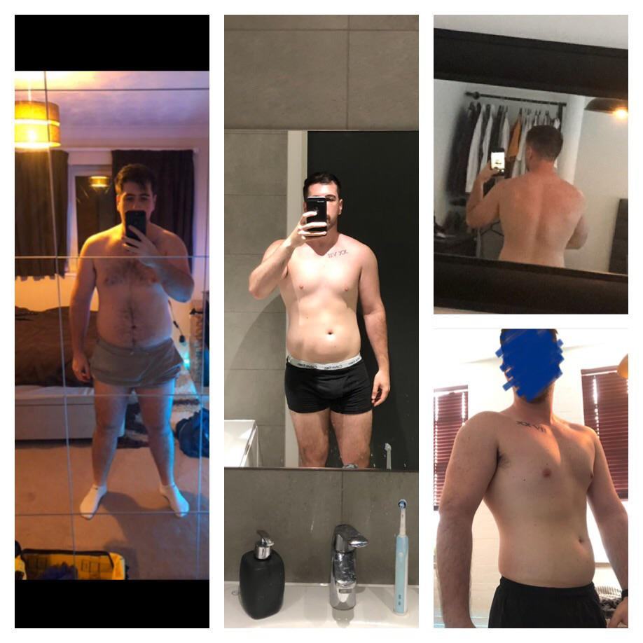 6 foot Male Before and After 30 lbs Fat Loss 240 lbs to 210 lbs