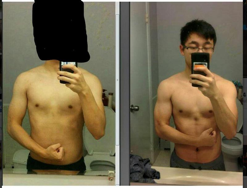 13 lbs Muscle Gain Before and After 5 foot 1 Male 102 lbs to 115 lbs