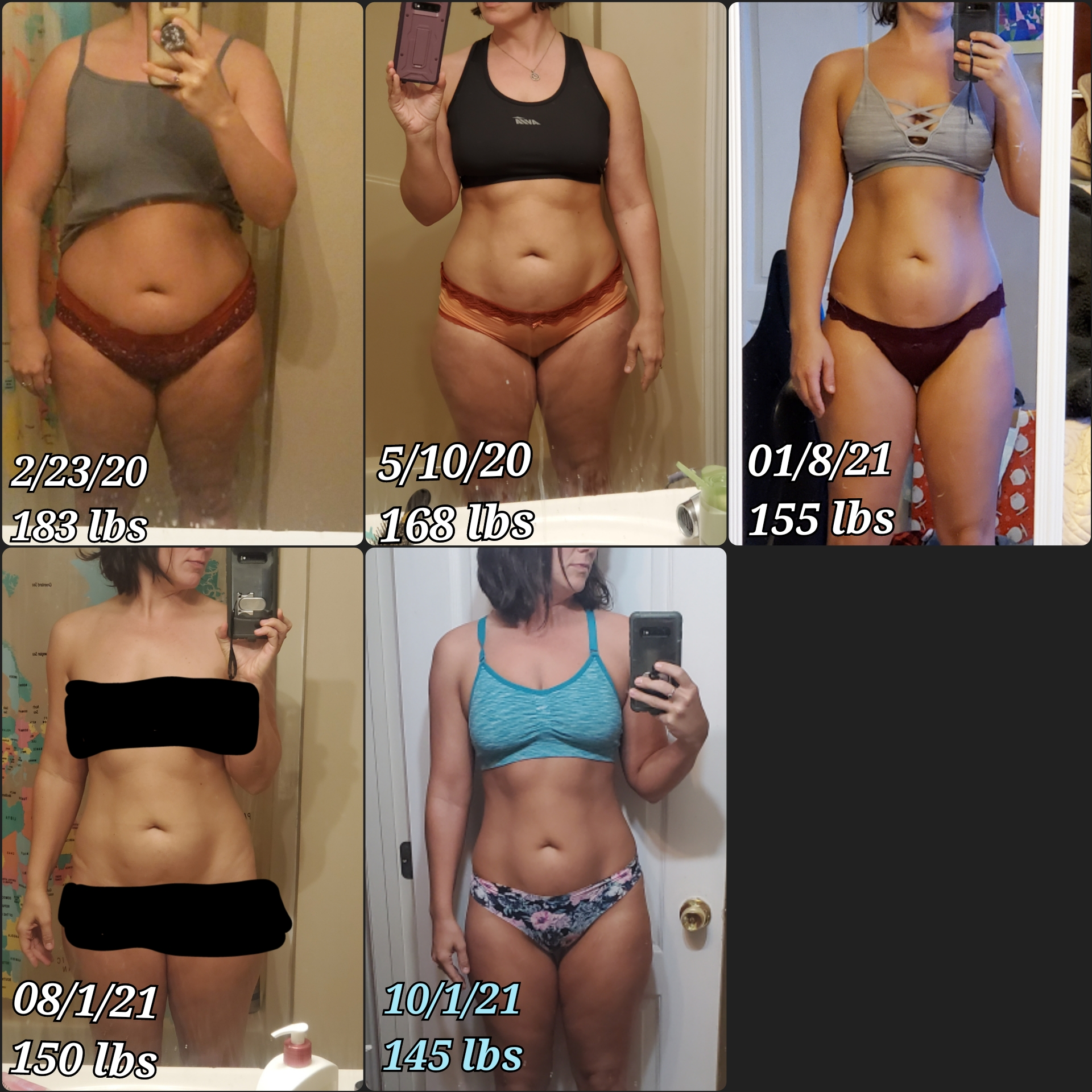 40 lbs Weight Loss Before and After 5 foot 6 Female 185 lbs to 145 lbs