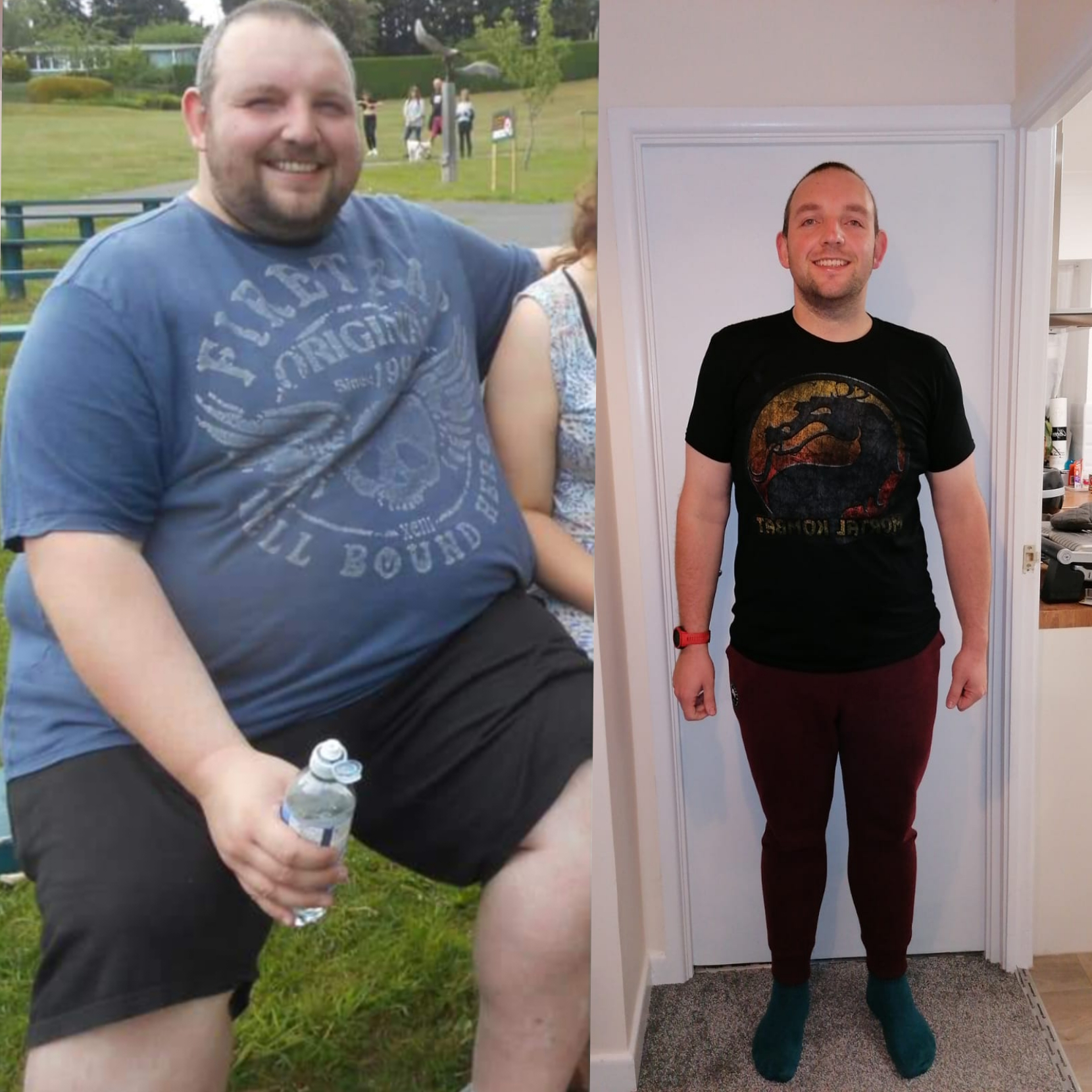 6 feet 2 Male Before and After 216 lbs Fat Loss 444 lbs to 228 lbs