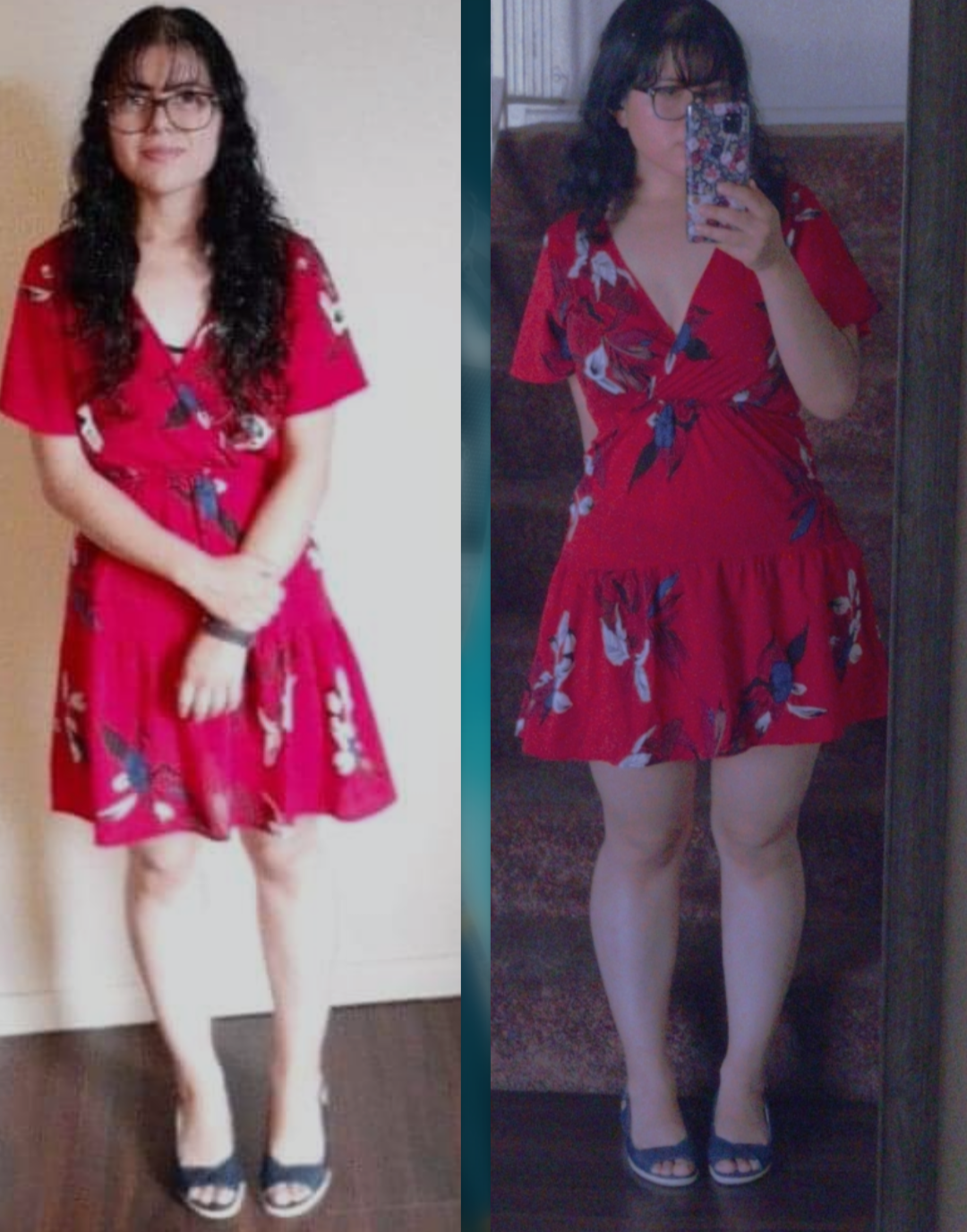 5 foot Female 40 lbs Weight Gain Before and After 110 lbs to 150 lbs